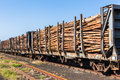 Wood logging poles train loaded with cut tree traveling to hardware paper pulp mills Stock Photography