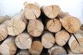 Wood logs background on white Royalty Free Stock Photo