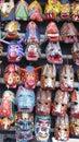 Wood masks guatemala chichicastenango at chichicastenango market wooden used for traditional dances Royalty Free Stock Photography