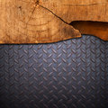 Wood on metal Royalty Free Stock Images