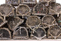 Wood and net crab and lobster pots / traps Royalty Free Stock Photos