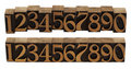 Wood numbers - vintage letterpress blocks Royalty Free Stock Photography
