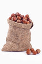Wood nut in a bag Royalty Free Stock Photos