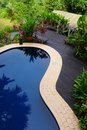 Wood patio & pool layout with landscaping