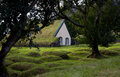 Wood and peat turf church at hof skaftafell iceland hofskirkja Royalty Free Stock Photos