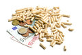 Wood pellets as ecological and economical heating Royalty Free Stock Photo