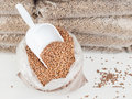 Wood pellets and scoop in bag of a store of bagged behind Royalty Free Stock Photo