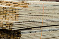 Wood piles for construction shipped Royalty Free Stock Photo