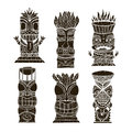 Wood Polynesian Tiki idols, gods statue carving. Vector illustration Royalty Free Stock Photo