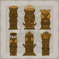 Wood Polynesian Tiki idols, gods statue carving. Vector Royalty Free Stock Photo