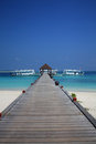 A wood pontoon in the Maldives Royalty Free Stock Images