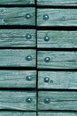 Wood with rivets blue wooden texture background close up Stock Photos