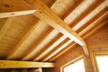 Wood roof ceiling of a new modern house Royalty Free Stock Photos