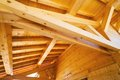 Wood roof ceiling structure detailed Stock Photo