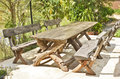 Wood seats and table Royalty Free Stock Photo