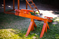 Wood seesaw new at kindergarten Stock Images