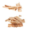 Wood shavings isolated on white set background Stock Photography