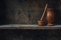 Wood shelf home kitchen still life on wooden Royalty Free Stock Photography