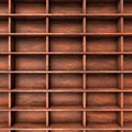 Wood shelves slots several brown with Stock Photography