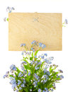 Wood Sign with Flowers / empty board for your text Royalty Free Stock Photography