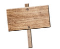 Wood sign isolated. Stock Photo