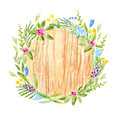 Wood slice and flower wreath.Cross section tree.Rustic style.