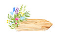 Wood slice and flower wreath.Cross section tree.