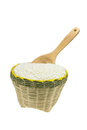 Wood spoon and bamboo basket isolated on white background Royalty Free Stock Photos