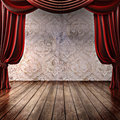 Wood stage background with theatrical curtains advertisement music comedy or performing arts concept with room for text or copy Royalty Free Stock Photography