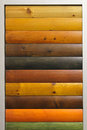 Wood stain varnish color samples Royalty Free Stock Photos
