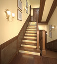 Wood stairs in the modern house. Royalty Free Stock Image