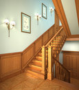 Wood stairs in the modern house. Royalty Free Stock Photos