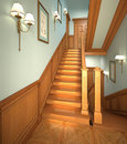 Wood stairs in the modern house. Stock Photo