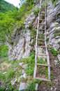 Wood stairs in the mountains old used by people from villages carpathians Stock Image