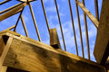 Wood Stud Roof Frame of Home Construction Royalty Free Stock Photo