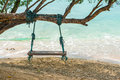 Wood swing on the beach under tree Stock Photography