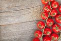 Wood table with cherry tomatoes and copyspace Stock Photography