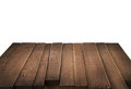 Wood table in perspective on white background Royalty Free Stock Photo