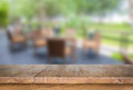 Wood table at restaurant Royalty Free Stock Photo