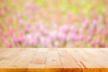 Wood table top on blur flower garden background can montage or display your products Stock Photography