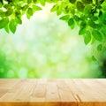 Dřevo stůl zelený list rozmazat
