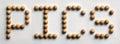 Wood Tack Word Art `Pics` Royalty Free Stock Photo