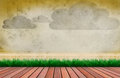 Wood terrace and wooden fence cloud on wall Royalty Free Stock Photo