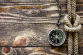 Wood texture with compass and marine knot Royalty Free Stock Image