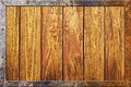 Wood texture with metal frame Royalty Free Stock Photo