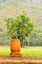 Wood trash bin a beside the wayside Royalty Free Stock Image