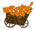 A wood  trolley  and flower Royalty Free Stock Photo
