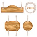 Wood vector frame rope design set of vintage information old wooden texture sign boards hanging with Royalty Free Stock Images