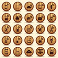 Wood wifi icons mobile and wireless buttons series devices technology wooden illustration in cs eps contain transparency Stock Image