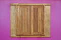 Wood window on pink wall Royalty Free Stock Photo